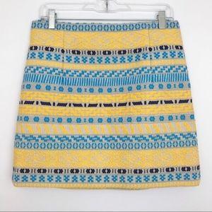 ZARA   Embroidered Aztec Jacquard Mini Skirt Large